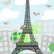 Cartoon Paris with birds — Imagen vectorial