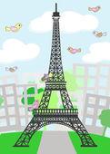 Cartoon Paris with birds — Stock Vector