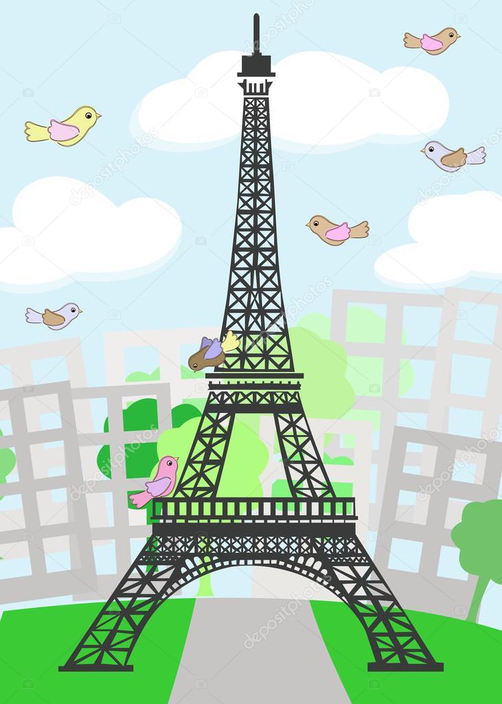 Cartone animato di parigi con uccelli — vettoriali stock