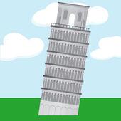 Cartoon Learning Tower of Pisa — Stock Vector