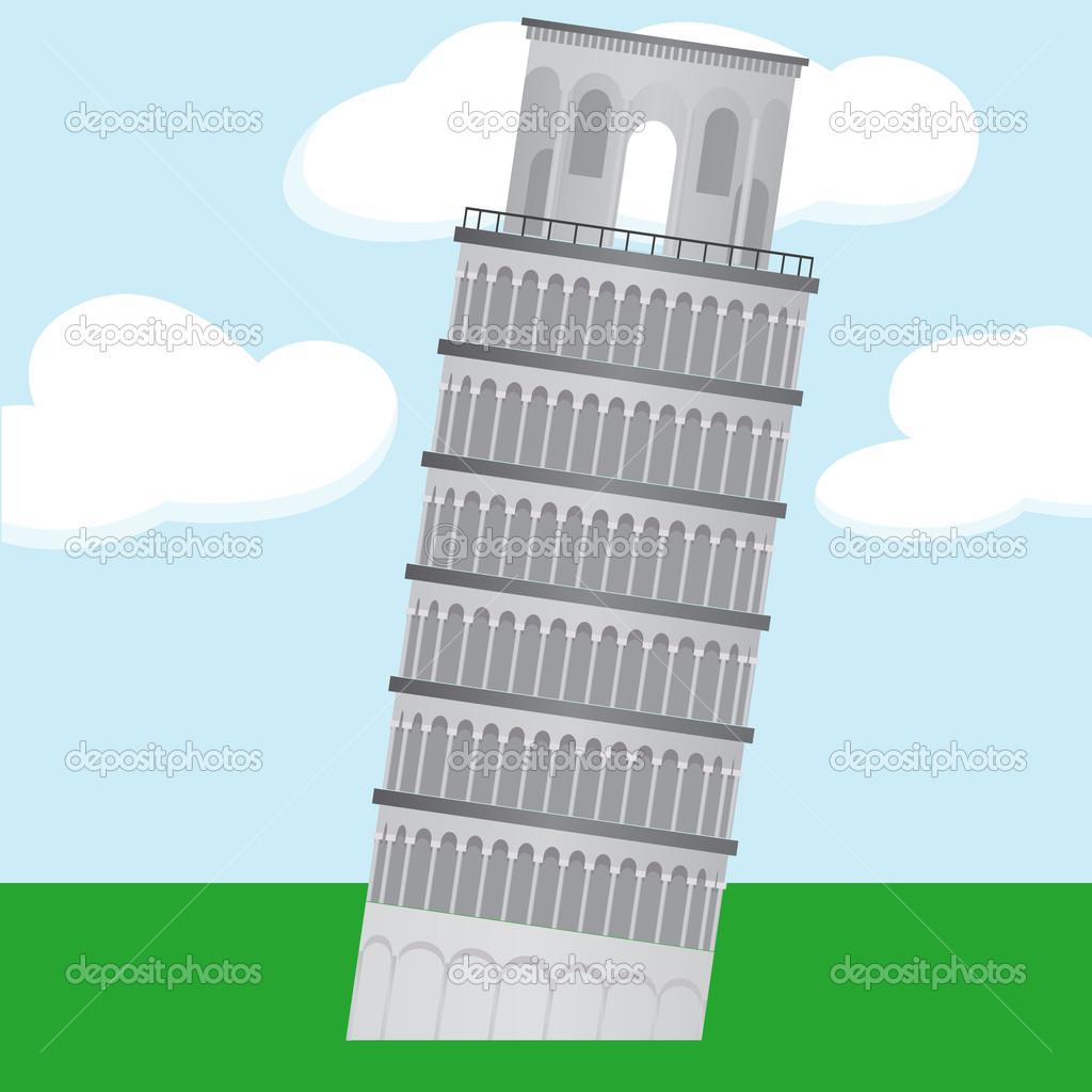 Dibujos animados de aprendizaje torre pisa — vector