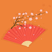 Fan with cherry blossoms — Stock Vector