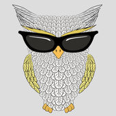 Owl with sunglasses — Vettoriale Stock