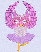 Owl ballerina — Stock Vector