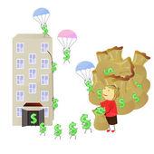 Ganar dinero — Vector de stock