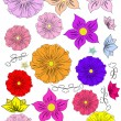 Set-of-hand-drawing-flowers — Stock Vector