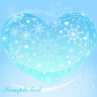 Stock Vector: Heart with snowflakes background
