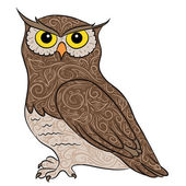 Hand drawing owl — Stock Vector