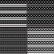 Black and white polka dot horizontal striped patterns — Vettoriale Stock  #48924931