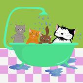 Cats in bath — Stock Vector