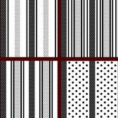 Black and white vertical striped polka dot patterns — Vector de stock