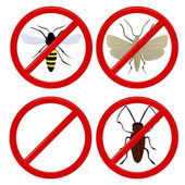 No insects cockroach, moth and wasp — Stock Vector