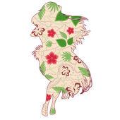Hawaiian girl vintage — Stock Vector