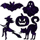 Halloween drawing silhouettes — Stock Vector