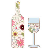 Wine bottle and glass vintage — Stock Vector