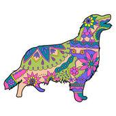 Målade hund siluett — Stockvektor
