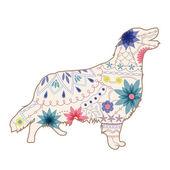 Vintage painted silhouette of dog — Stockvektor