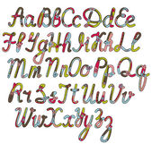 Written alphabet in christmas colors — Vettoriale Stock