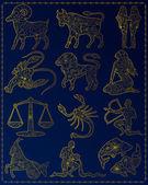 Golden zodiac signs — Stock Vector