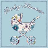 Ducha de bebé azul — Vector de stock