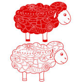 Red sheep — Stock Vector