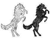Set of black horses — Stock Vector