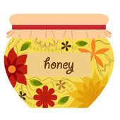 Honey jar retro — Stock Vector