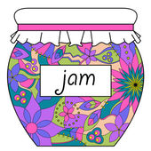 Colorful jam jar — Stock Vector