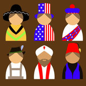 People in nationail costumes — Stock Vector