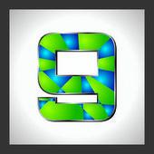 Números y las letras del alfabeto verde — Vector de stock