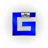 Blau metallic schriftarten — Stockvektor