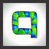 Números e letras do alfabeto verde — Vetor de Stock
