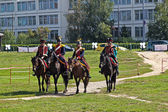 Four French horse officiers — Stock Photo