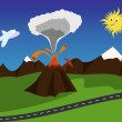 Cartoon volcano eruption — Vettoriali Stock