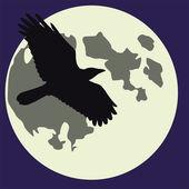 Cadılar Bayramı ay ve kuzgun — Stok Vektör