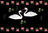 Beloved swans — Stock Vector