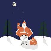 Santa on a sheep — Stock Vector