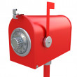 Security of mailbox. Steel mailbox with combination lock. — Стоковое фото