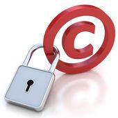 Símbolo de direitos autorais vermelho brilhante com cadeado em um fundo branco — Foto Stock