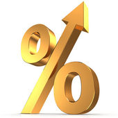 Golden percentage symbol with an arrow up — Stock Photo