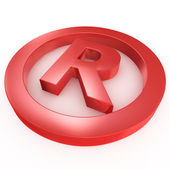 Red registered trademark sign laying on a white ground — Stock Photo
