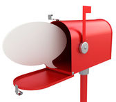 Red mail box with blank speech bubble . — Stock Photo