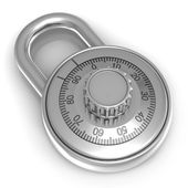 Steel combination lock over white background — Stock Photo