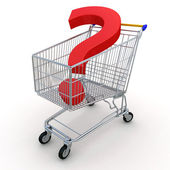Shopping Cart with Question — Stock Photo