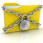 Big yellow folder with a combination lock — Stock Photo