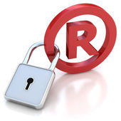 Red glossy Trademark sign with padlock on a white background — Stock Photo