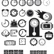 Stok Vektör: Clocks, time icons set