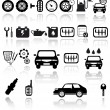 Vector black auto icons set - Stock Vector