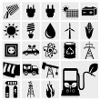vector black eco energy icons — Stock Vector