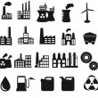 Factory and pollution icons — Stock Vector